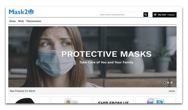 The bare-bones Mask2U website appears to offer products for sale