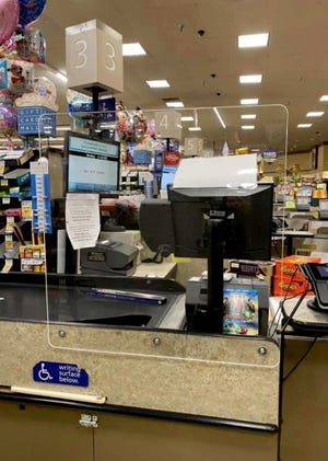 Albertsons grocery store in Palm Springs, Calif., has plexiglass set up between the customers and check out clerks. Essential businesses are making efforts to ensure safety and practice social distancing to fight the spread of coronavirus.  Courtesy of Albertsons