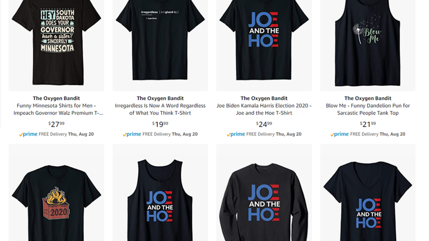 Amazon selling clothing with derogatory term toward Kamala Harris