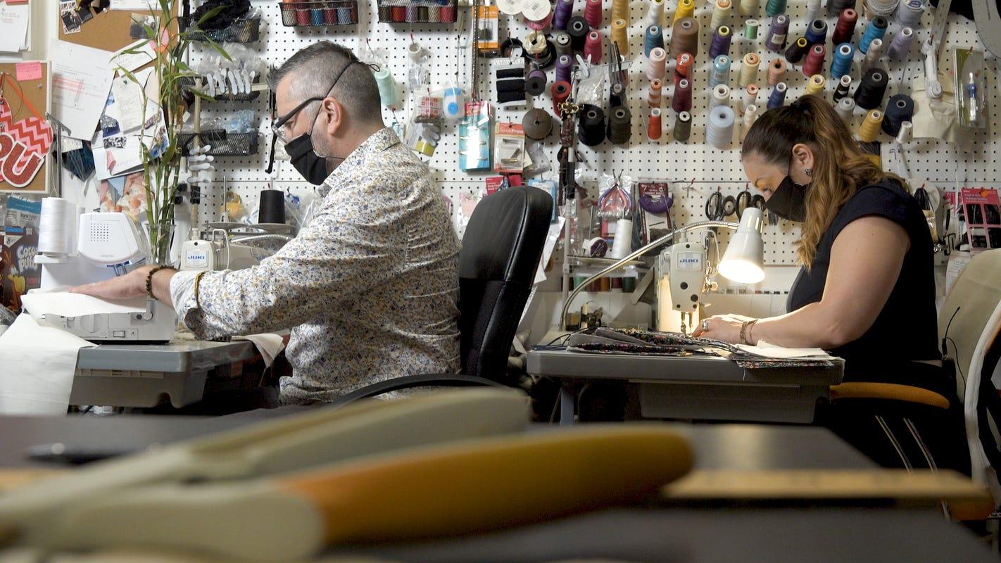Bridal fashion designer keeps studio going in COVID